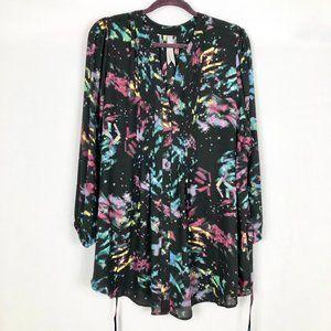Melissa McCarthy Multi Color Long Sleeve Blouse